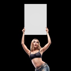 Boxing ring girl holding a board with round number isolated on black background. High resolution