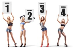 Boxing ring girls holding a board with round number isolated on white background. set.  High resolution