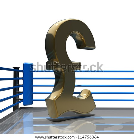 Boxing ring with British pound symbol isolated on white background - 3d render high resolution