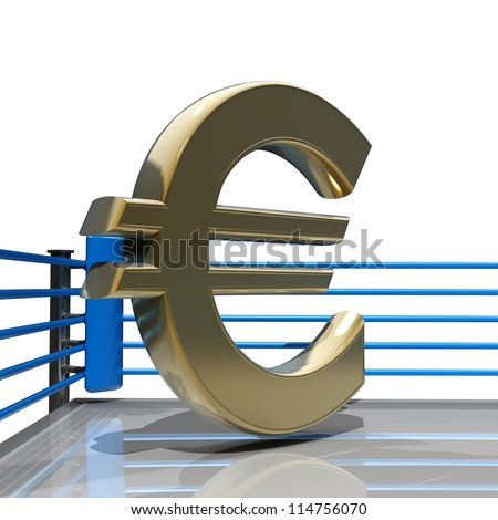 Boxing ring with Euro symbol isolated on white background - 3d render high resolution