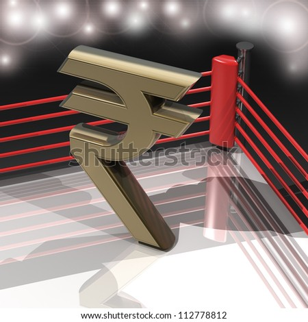 Boxing ring with Indian rupee symbol 3d render high resolution