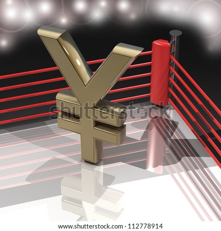 Boxing ring with Japanese yen symbol  render high resolution