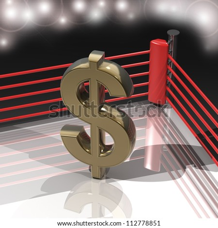 Boxing ring with US dollar symbol 3d render high resolution