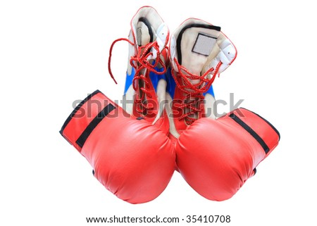 boxing shoes and gloves on white background