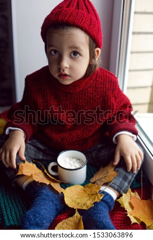 boy a child in a red sweater and a knitted hat sits at the window on the windowsill #1533063896