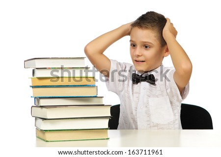 Boy and books, studio, isolated, white background.