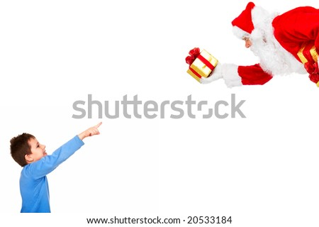 Boy and  Christmas Santa. Over white background