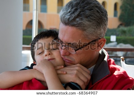 Boy and Dad - stock photo