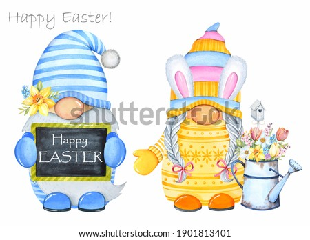Boy and girl gnomes. Watercolor illustration. Cute Easter gnomes  on white background. Stock fotó ©