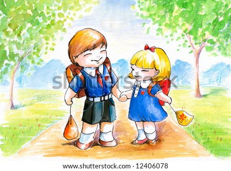 Boy and girl going to school.Picture I have painted myself with watercolors.