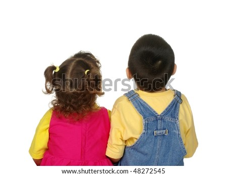 Boy and girl looking up, two and four years old, isolated on white background