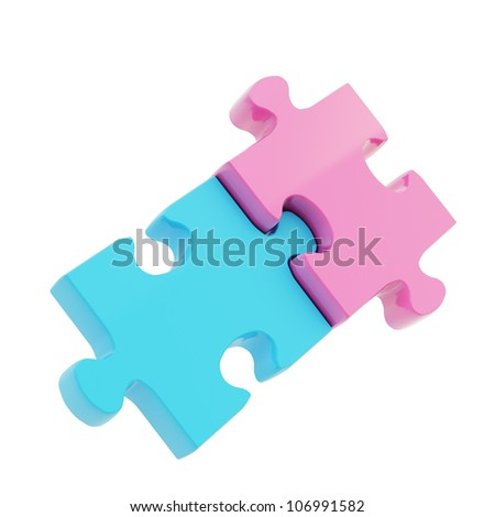 Boy and girl metaphor as two puzzle jigsaw glossy blue and pink pieces linked together