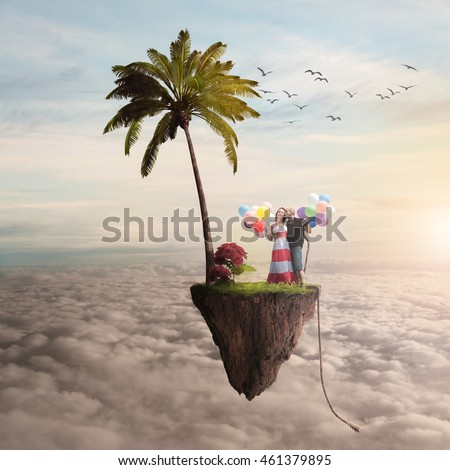 boy and girl on a flying island, boy and girl flying with balloons