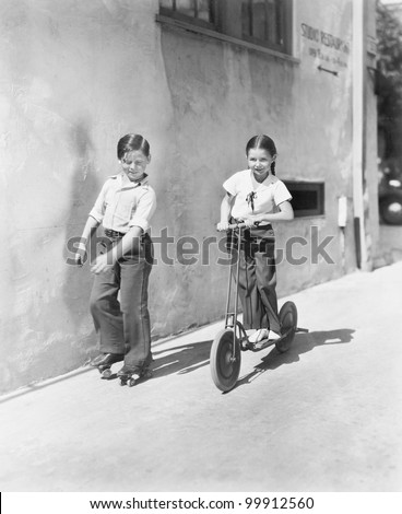 boy and girl playing on a...