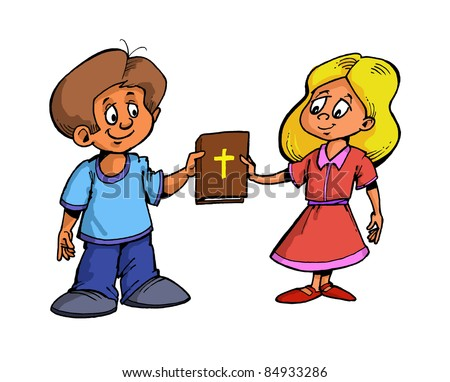boy and girl standing and holding a book in the hands of the Bible with a cross on the cover of God Jesus Christ, color illustration
