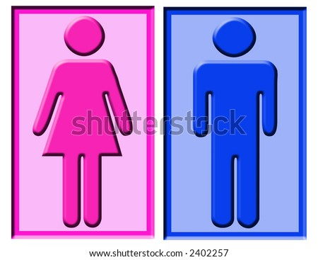 Boy and girl symbols usually found on bathroom doors stock photo 2402257 shutterstock for Boy and girl bathroom door signs