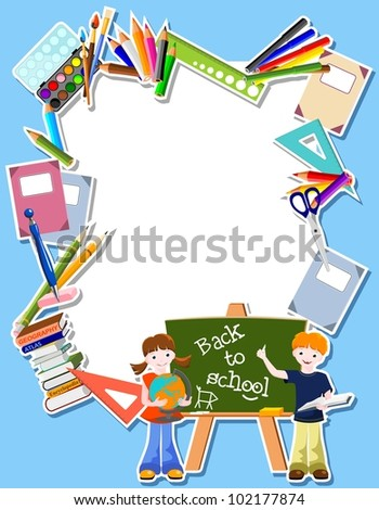 boy and girl  with blackboard,  and text Back to school - bitmap copy