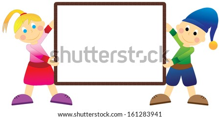 Boy and girl with frame