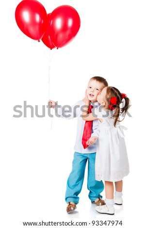 boy and girl with the red balloons