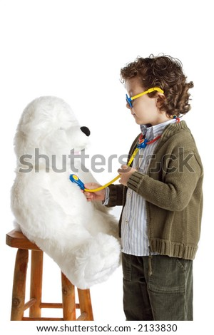 boy as a doctor over a white background