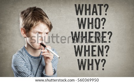 Boy asking five W questions for editorial consideration  (what, who, where, when, why), on grunge background, writing and thinking, copy space