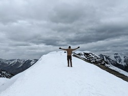 boy at 19500ft Trek kanamo peak trek and snow kibber village Spiti valley himachal pradesh India