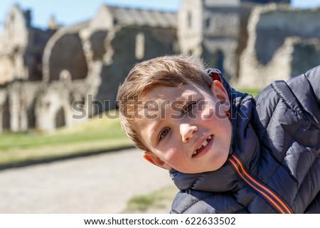 Boy at Inchcolm abbey on island near Edinburgh, Scotland #622633502