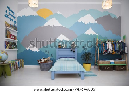 Shutterstock boy bedroom with a beautiful turquoise and grey mountain wall mural