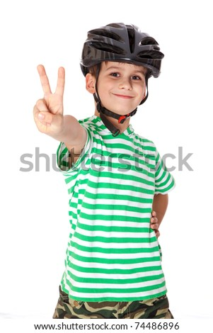Boy bicyclist with helmet isolated on white