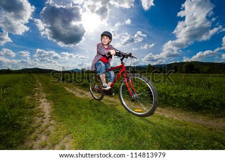 Boy biking