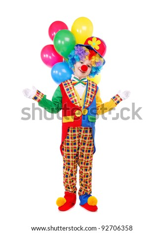 Boy birthday clown with a bunch of balloons over the white background