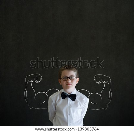 Boy businessman, salesman or teacher with chalk healthy strong arm muscles for success