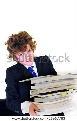 boy carrying homework