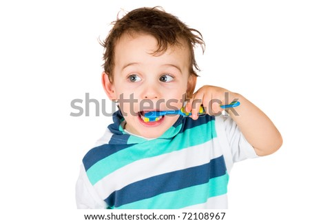 boy cleans a teeth isolated on white