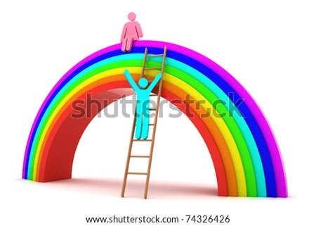 Boy climbing to the girl on a rainbow