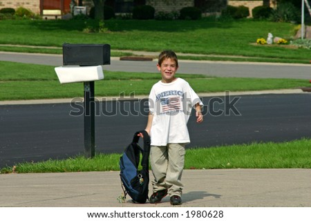Boy Comes Boy Coming Home From School
