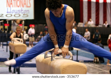 Boy competing on pommel at National championship in Houston