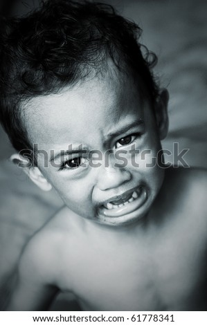 boy crying portrait in rare tone color