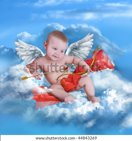 Boy cupid with bow and arrow,angel wings