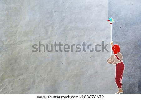 boy decorates the wall of multicolored paint, differences, changes, alteration,