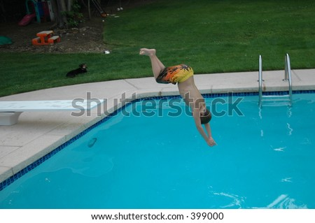 Boy Diving Into Pool Stock Photo 399000 Shutterstock