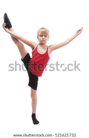 Boy doing vertical splits, on white background