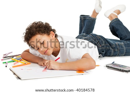 boy drawing, isolated on white backgr