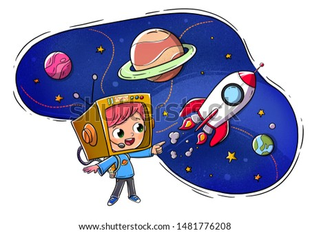 Boy dressed as an astronaut imagining space and planets