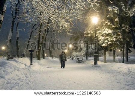 Boy enjoying the snow in the night winter park. Waiting for the Cristmas