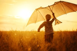 Boy flying a kite in a field at sunset