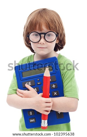 Boy genius concept - child with large glasses, pencil and calculator