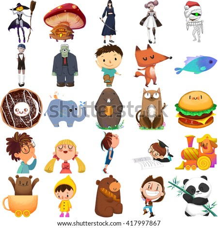Stock Photo Boy, Girl and Animal Set. Video Game Assets, Objects; Story Card Illustration Pieces isolated on White Background
