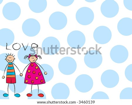 stock photo boy girl love on blue raster cartoon illustration of a cute couple 3460139 young amateur cartoon cartoon face sex