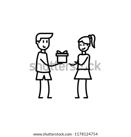 boy gives a gift to girl icon. Element of friendship icon for mobile concept and web apps. Thin line boy gives a gift to girl icon can be used for web and mobile on white background